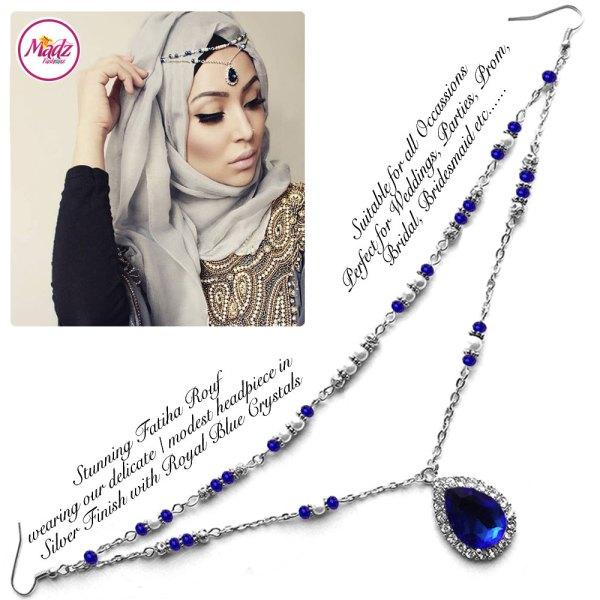 Madz Fashionz USA - Fatiha World Tear Drop Headpiece Silver and Royal Blue Crystals