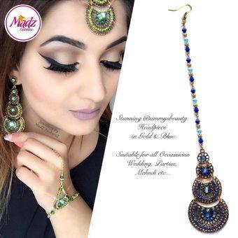 Madz Fashionz USA: @simmysbeauty Maang Tikka, Headpiece Royal Blue Stones