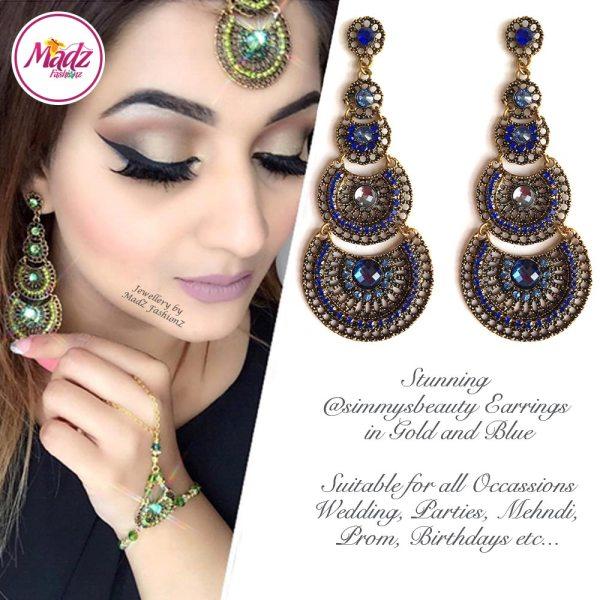 Madz Fashionz USA: @simmysbeauty Earrings Chandelier Chand Drop Royal Blue Stones