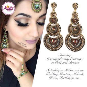 Madz Fashionz USA: @simmysbeauty Earrings Chandelier Chand Drop Brown Stones