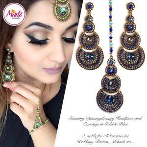 Madz Fashionz USA: simmysbeauty Maang Tikka & Earrings Set Royal Blue Stones