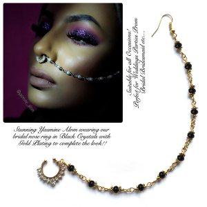 Madz Fashionz USA: Yasmine Alom Pearl Indian Nose Ring Nath Bullaku Nathu Gold Black