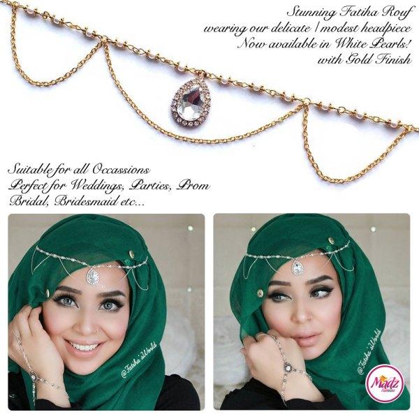 Madz Fashionz USA - Fatihasworld Tear Drop Matha Patti Headpiece Gold and White Pearl