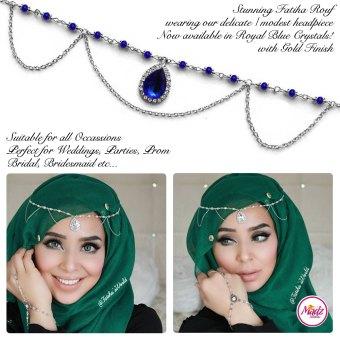 Madz Fashionz USA - Fatihasworld Tear Drop Matha Patti Headpiece Silver and Royal Blue