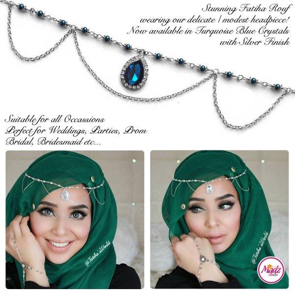 Madz Fashionz USA - Fatihasworld Tear Drop Matha Patti Headpiece Silver and Turquoise