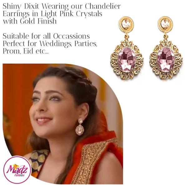 Madz Fashionz USA: Shiny Dixit Chandelier Earrings Zindagi Ki Mehek Gold Light Pink