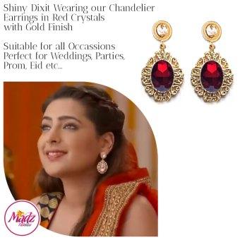 Madz Fashionz USA: Shiny Dixit Chandelier Earrings Zindagi Ki Mehek Gold Red