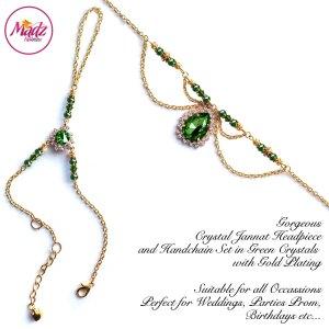 Madz Fashionz USA: Jannat Delicate Green Crystal Headpiece Handchain Set