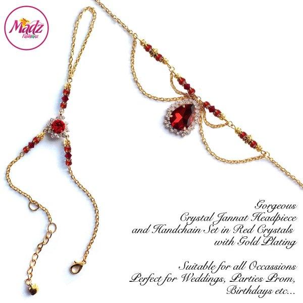 Madz Fashionz USA: Jannat Delicate Red Crystal Headpiece Handchain Set