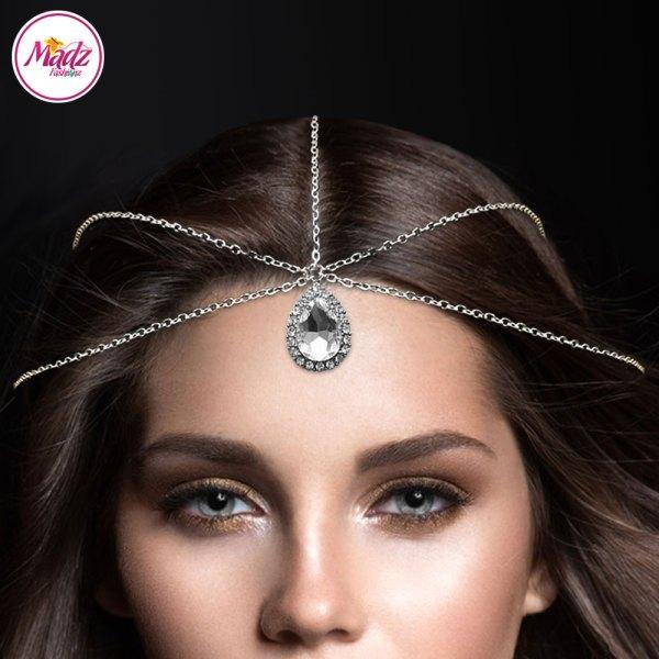 Madz Fashionz USA: Silver and White Hair Jewellery Headpiece Matha Patti
