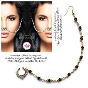 Madz Fashionz USA: Afreen Pearl Indian Nose Ring Nath Bullaku Nathu Gold Black