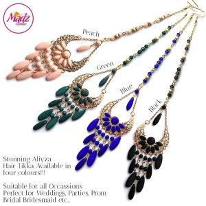 Madz Fashionz USA: Aliyza Hair Tikka Maang Tikka Matha Patti Gold Peach Green Black Royal Blue