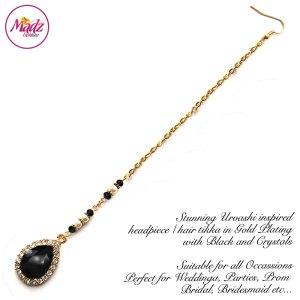 Madz Fashionz USA: Urvashi Rautela Kundan Crystal Stones Gold Maang Tikka Hair Tikka Gold Black