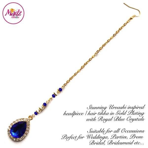 Madz Fashionz USA: Urvashi Rautela Kundan Crystal Stones Gold Maang Tikka Hair Tikka Gold Royal Blue