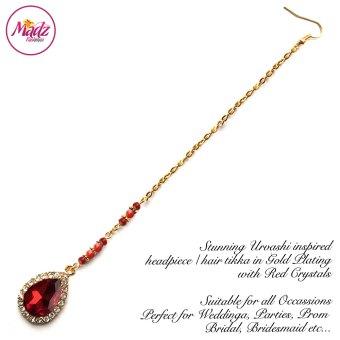 Madz Fashionz USA: Urvashi Rautela Kundan Crystal Stones Gold Maang Tikka Hair Tikka Gold Red