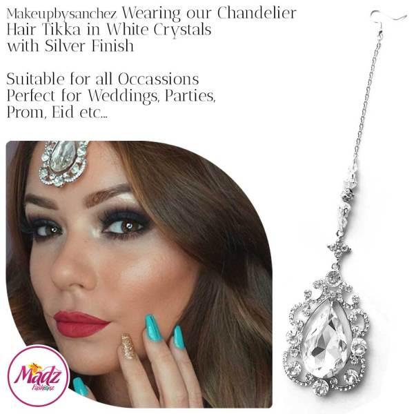 Madz Fashionz USA: Makebysanchez Delicate Crystal Maang Tikka Headpiece Silver White