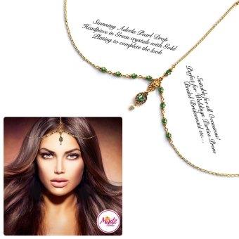Madz Fashionz UK: Adeela Pearl Drop Gold Headpiece Matha Patti Tikka Antique Gold Green