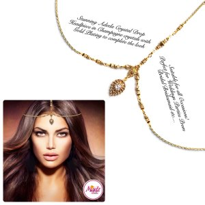 Madz Fashionz UK: Adeela Crystal Drop Headpiece Matha Patti Gold White