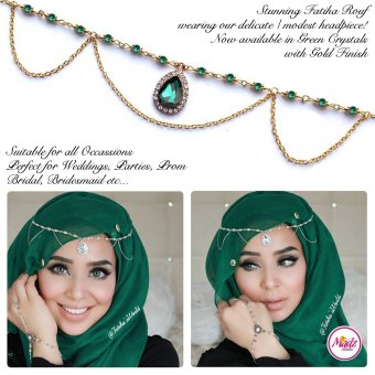 Madz Fashionz UK - Fatihasworld Tear Drop Matha Patti Headpiece Gold and Green
