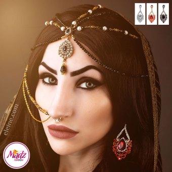 Madz Fashionz UK: Eleine Exquisite Gold Nawab Bridal Stud Earrings Asain Jewel