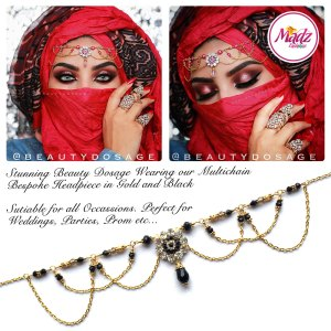 Madz Fashionz UK: Beautydosage Crystal Drop Titli Headpiece 2 Gold Black