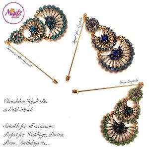 Madz Fashionz UK: Mannat Chandelier Hijab Pins, Hijab Jewels Gold