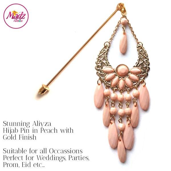 Madz Fashionz UK: Aliyzah Hijab Pin Hijab Jewels Stick Pins Gold Peach