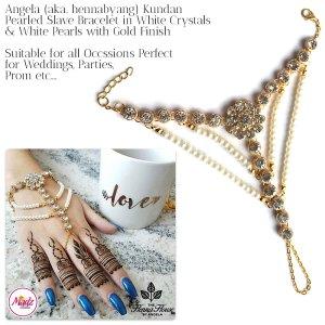Madz Fashionz UK: Hennabyang Angela Traditional Kundan Pearled Hand chain Slave Bracelet Gold white 2