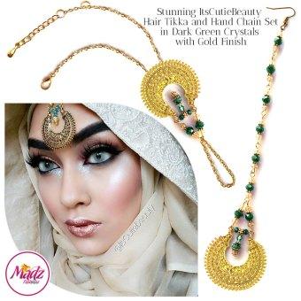 Madz Fashionz UK: ItsCutieBeauty Kundan Tikka Headpiece Handchain Chand Maang Tikka Gold Dark Green Set