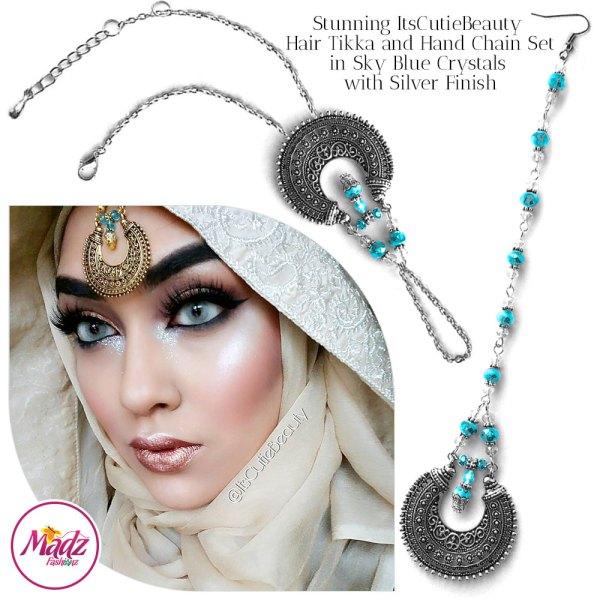 Madz Fashionz UK: ItsCutieBeauty Kundan Tikka Headpiece Handchain Chand Maang Tikka Silver Sky Blue Set