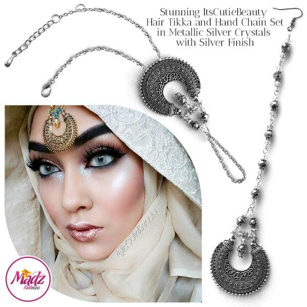 Madz Fashionz UK: ItsCutieBeauty Kundan Tikka Headpiece Handchain Chand Maang Tikka Silver Metallic Set