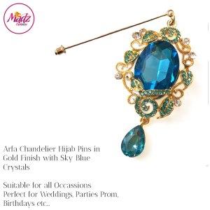 Madz Fashionz UK: Arfa Chandelier Drop Hijab Pin Hijab Jewels Stick Pins Gold Sky Blue