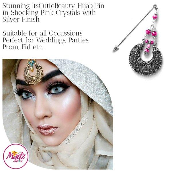 Madz Fashionz UK: ItsCutieBeauty Kundan Hijab Pin Stick Pin Hijab Jewels Hijab Pins Silver Shocking Pink