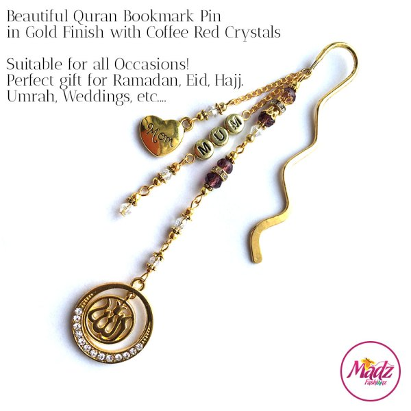 Madz Fashionz UK: Personalised Quran Bookmarks Pins Gifts in Coffee Red Crystals with Gold Finish