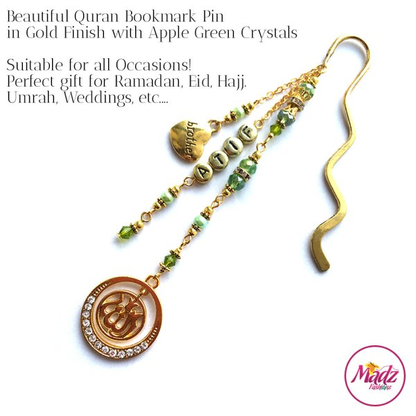 Madz Fashionz UK: Personalised Quran Bookmarks Pins Gifts in Apple Green Crystals with Gold Finish