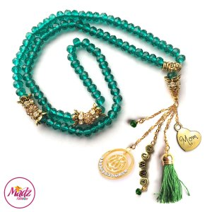 Madz Fashionz UK: 99 Beads Personalised Tasbeeh with Dark Green Crystals in Gold Finish