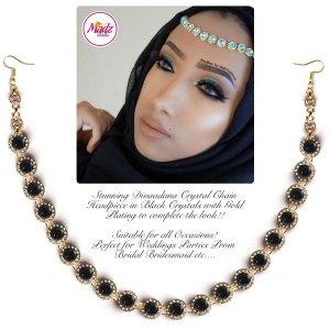 Madz Fashionz UK: Divaadana Delicate Statement Headpiece Head chain Matha Patti Gold Black Crystal
