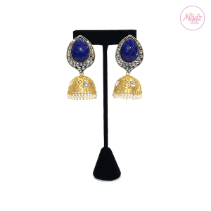 Madz Fashionz UK Fiza Stone Kundan Jhumkas Royal Blue Earrings Indian Jewellery Pakistani Jewellery