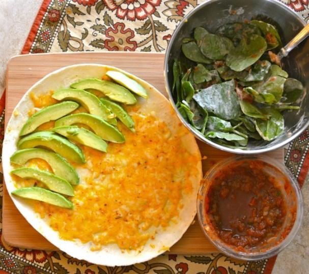 Spinach and Avocado Quesadilla
