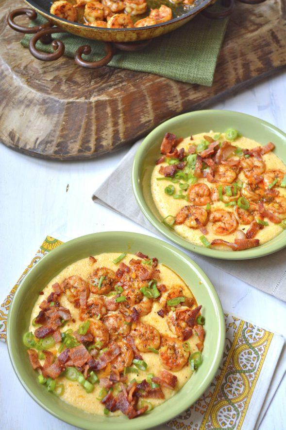 Shrimp and Creamy Cheesy Grits www.maebells.com