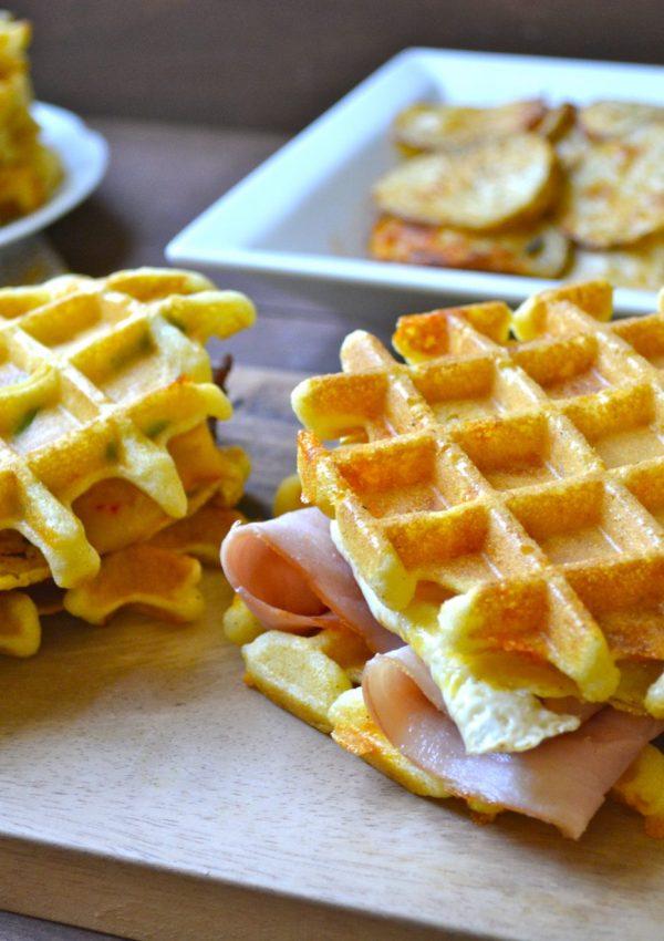 Jalapeño Cheddar Cornmeal Waffles