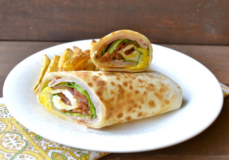 Ham, Bacon, and Egg Wrap with Honey Dijon Sauce