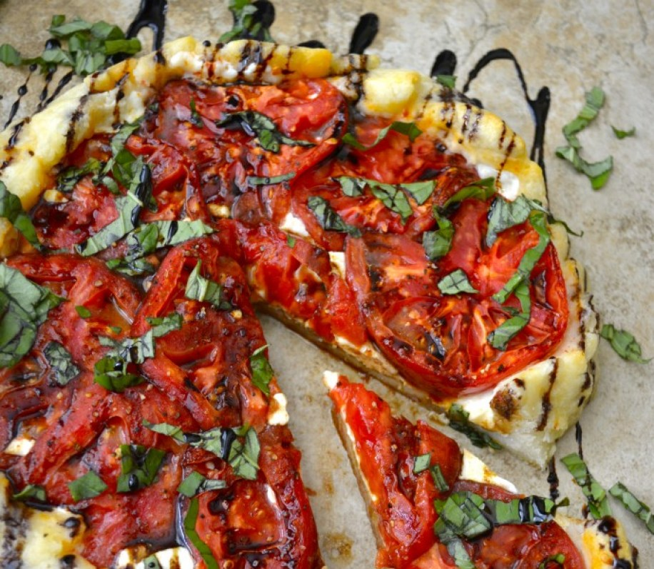 Caprese Galette with Balsamic Vinegar Reduction