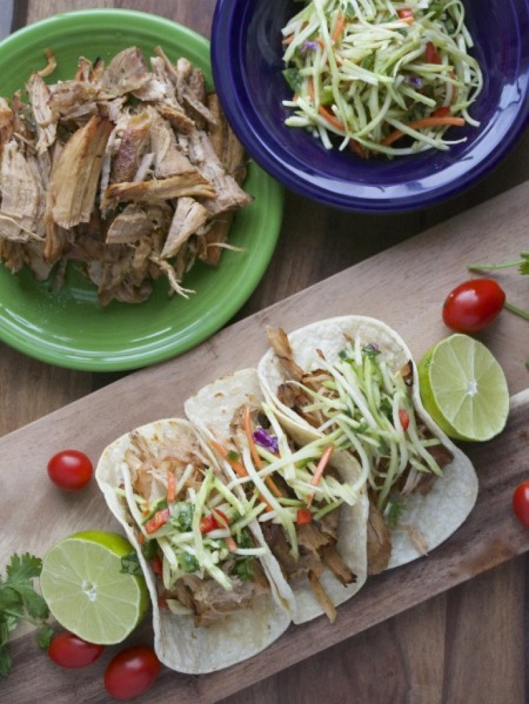 JalapeÒo Ranch Slow Cooker Carnitas with Cilantro Lime Slaw...your family will LOVE these! So easy and super impressive! #glutenfree