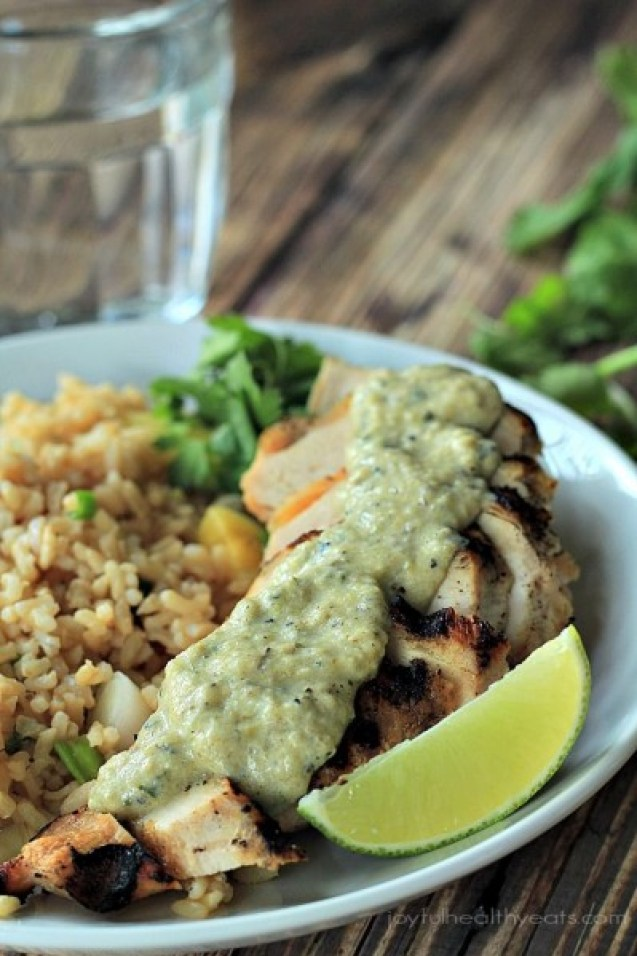 Grilled Chicken with Tomatillo Roasted Poblano Cream Sauce from Joyful Healthy Eats