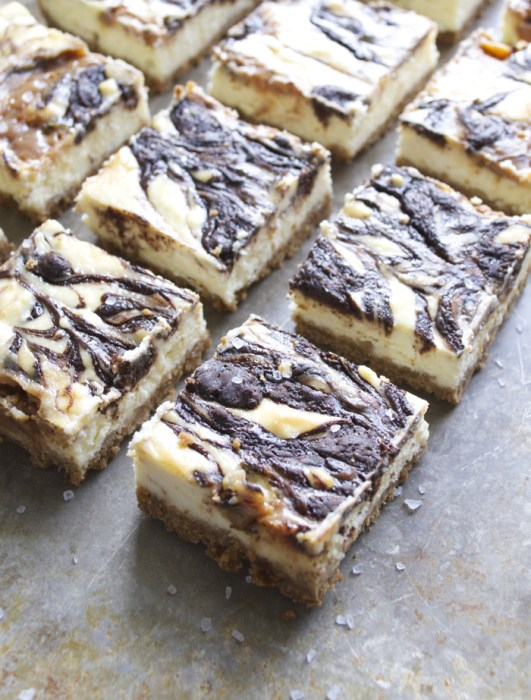 Creamy Cheesecake is paired with Salted Caramel & Mocha Swirls for an indulgent dessert!