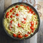 Creamy Parmesan Spaghetti with Cherry Tomatoes