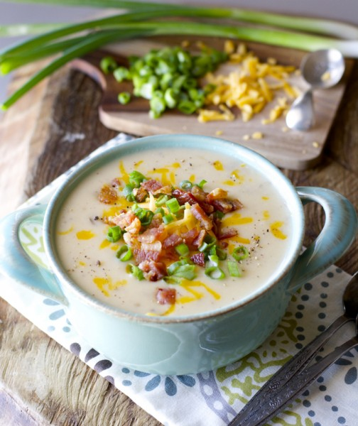 Easy Potato Soup! Top with bacon cheddar and green onions for the ultimate comfort food!