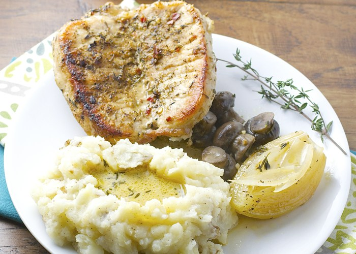 One Pan Pork Chops in a creamy white wine sauce, this was AMAZING!