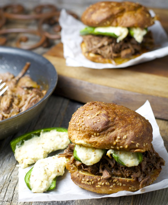 Slow Cooker Shredded Beef and Jalapeno Popper Burgers. Total man food and super easy! #slowcooker #glutenfree